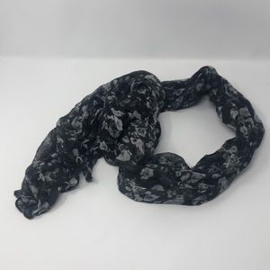 Black w/ white flowers long scarf